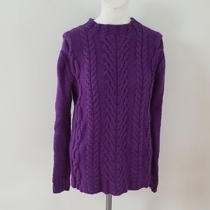 Chunky beauty Handknit Cable knit purple Sweater